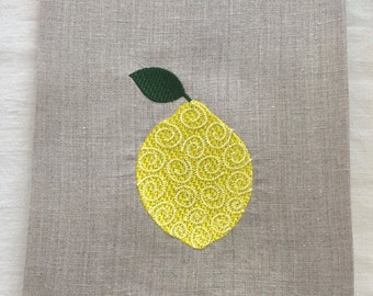 Embroidered Tea Towel, Guest Towel or Hand Towel.  Lemon Swirl.  Hostess Gift.   Home decor.  Embroidered Fruit.