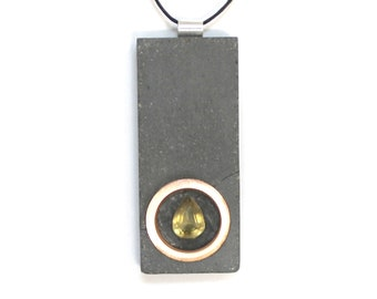 Handcrafted Concrete Jewelry Pendant with Copper Ring & Topaz Inlay