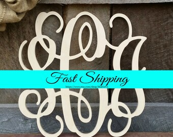 Wooden Monogram - Unfinished Vine Script Monogram - Wood Monogram - Monogram Home Decor - Monogram Wall Hanging - Monogram Door Hanger