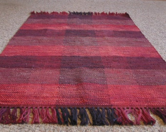 OOAK Hand Woven, Hand Dyed cotton Rug in reds
