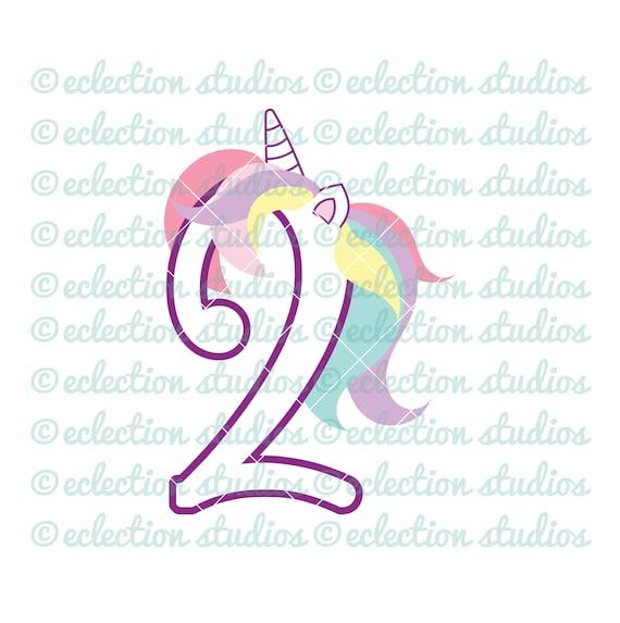 Unicorn Svg Unicorn 2 Two Second Birthday Unicorn Number