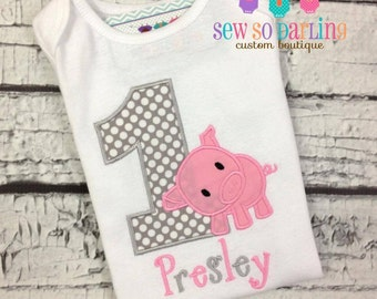 Baby Girl 1st Birthday Pig Outfit - 1st Birthday Piggy Birthday Shirt - Pig Birthday Outfit - pig birthday shirt - girl big birthday shirt
