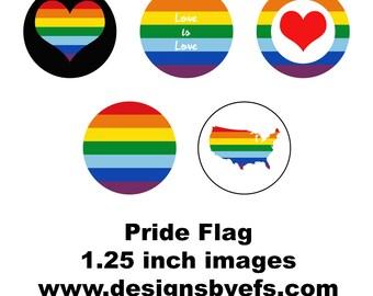 "1.25"" Round Pride Collage Sheet Instant Download LGBTQ, Gay Pride, Pride March, Tolerance, Awareness"