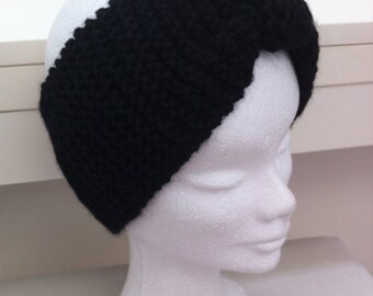 Black alpaca wool headband