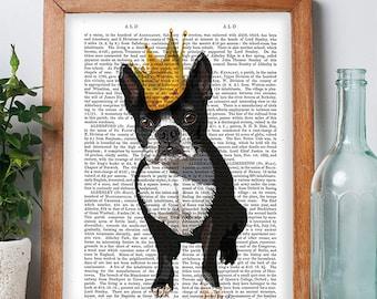 Boston Terrier Print Dog king Boston terrier art boston terrier poster boston terrier gift nursery dog print dog gift idea dog lover dog art