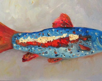 Yankee Doodle Trout impasto red white and Blue fish oil painting Contemporary art 8x16 Art by Delilah