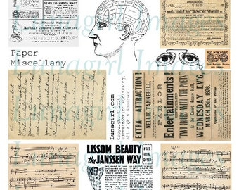 Vintage PAPER MISCELLANY digital collage sheet text handwriting Victorian ads music letters eyes phrenology head printable ephemera DOWNLOAD