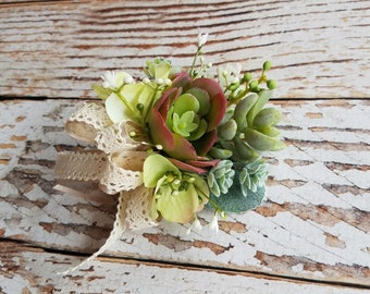 Succulent Pin On Corsage with Lace