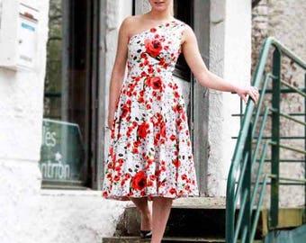 SALES One shoulder floral dress/ midi dress/ white red midi dress/ prom dress/ swing dress/ one shoulder tea length dress/ summer dress