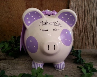 Piggy Bank Purple - Personalized and Hand Painted