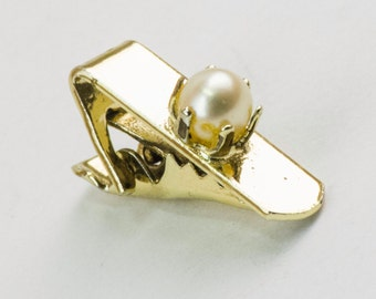 Vintage Tie Clip- Faux Pearl on Skinny Tie Bar (Gold Tone Metal) 1950s, Winter Formal Wedding For Him, For Dad, Hipster Valentine's Day