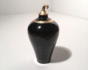 cremation regal ceremonial urn black and gold leaf ceramic vase modern ceramic vases mens urns black pottery stoneware handmade pet memorial