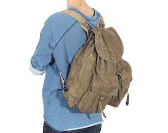 Military Khaki Backpack, Green Army Rucksack form 1950's, Vintage Backpack, Canvas bag