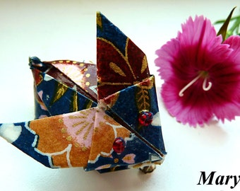 Origami Rabbit Brooch Blue Rabbit Animal Brooch Pin Washi Rabbit Pin Japanese Rabbit in Blue Gift for Her Surprise Gift Idea