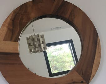 round teak mirror