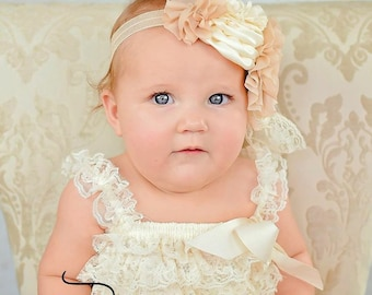 Baby Headband and sash belt, Baby Headbands, Ivory Headband belt - Headband, headband, Flower girl Headband