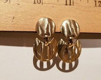 Vintage Modernist  gold tone Sperry screw on  earrings