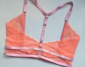 XL Lingerie Harness Pink and Peach Reversible