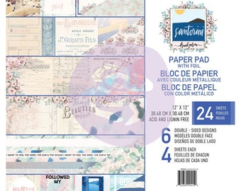Prima Santorini 12 x 12 Paper Pad With Foil Frank Garcia Scrapbook New Release In Stock Ready To Ship