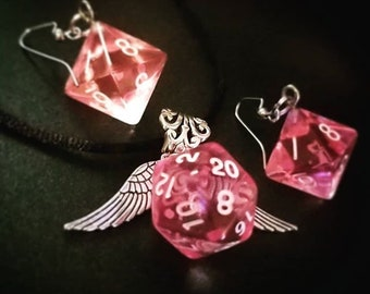 D20 Dice Necklace and D8 Earrings / Pink Dungeons and Dragons D&D Dice jewelry / Polyhedral RPG Geek Nerd Critical Role Gamer Girl Gift