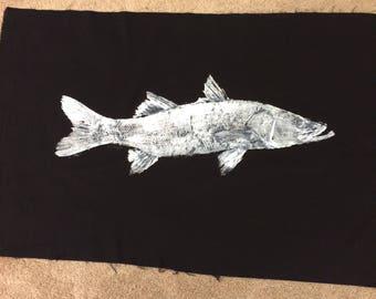 Original Snook Gyotaku Fish Rubbing By Artist Alex Dragoni