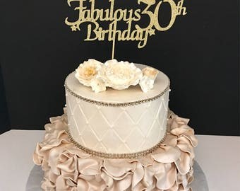 ANY NAME NUMBER Gold Glitter 21st Birthday Cake Topper 21