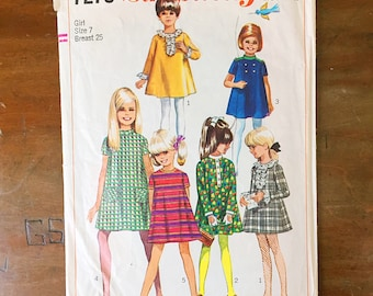Vintage Sewing Pattern Simplicity 7278 Girl's Dress 1960s A Line Mini Size 7 25