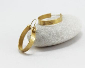 Textured hoop earrings Hammered gold hoops Medium hoops Gypsy hoops