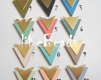 Hand Painted Laser Cut  Wood Triangles,Geometric Shapes,  Do it Yourself  Jewelry