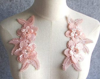 """3D Embroidered Silk Appliques Pink Floral Mirror Pair With Rhinestones 6.5"""" (GB546X-pkcr)"""