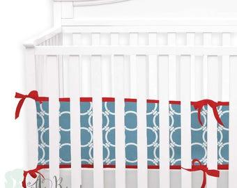 Red & Light Blue 2-in-1 Crib Bumper/Rail Cover | Convertible Baby Boy Bumper Set | Crib Bumper Set