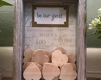 10x13 Wedding Guest Heart Drop Shadow Box Display - Rustic Wedding Decor
