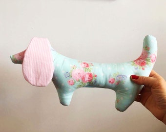 Baby girl rattle stuffed doggy shower gift flowery plushie toy jeans crinkle ears
