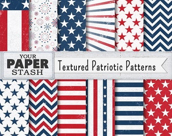 Patriotic 4th of July Digital Papers, Red White Blue Backgrounds, American Flag Pattern, Textured, Stars & Stripes, Commercial Use, Download