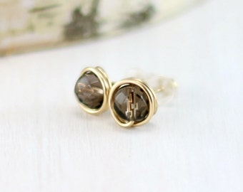 Smokey Quartz Earrings, 14k Gold Filled Brown Gemstone Post Earrings Yellow Gold Wire Wrapped Smokey Quartz Stud Earrings