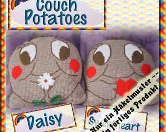 PDF Crochet Pattern Daisy & Sweetheart Couch Potato Cushion Covers