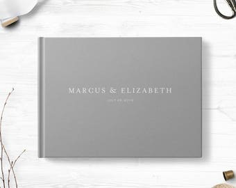 Custom wedding guest book, Gray landscape sign in book, Optional gold foil, Personalized, Various cover colors