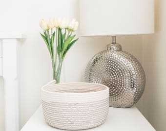 Rope basket, grey & white, storage basket, rope bowl, cotton basket, storage, nursery storage, gift idea, housewarming, organiser, key bowl