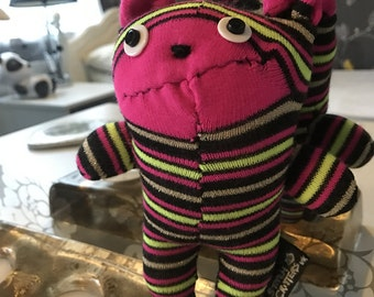 Handmade Stripey Sock Bear