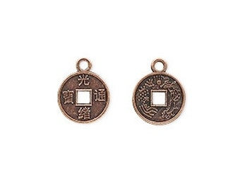 Chinese Coin Charm, Antiqued Copper Coin, Gypsy Coin, 10mm, 20 each, D706