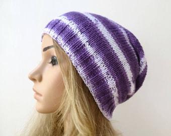 Purple Cotton Slouchy Beanie, Hand Knit Hat, Women Slouch Beanie, Women Cotton Slouch, Purple White Eco Slouch Beanie, ClickClackKnits