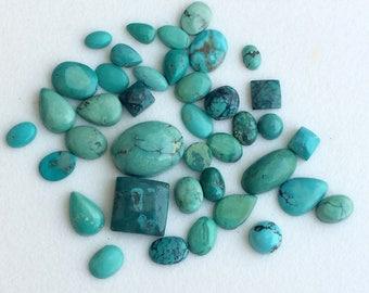 10 Pcs Tibetan Turquoise Cabochons, Original Smooth Mix Shape Turquoise Flat Back, Natural Loose Turquoise, 4x6mm - 10x12mm - KS3603