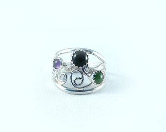 Handmade Sterling Black Onyx, Jade, and Amethyst Ring size 8.5 multi stone ring