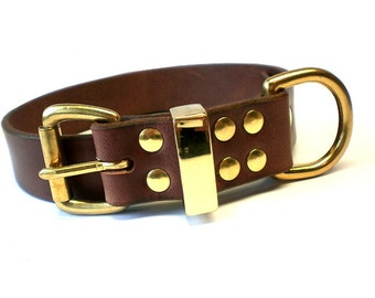 "1 1/4"" Rich Brown Chahin Bridle Leather Dog Collar with Solid Brass Hardware and Brass Keeper"