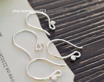 4 pieces (2 pairs)   925 sterling silver ear wire ear hook ear wires earwire earwires ear hooks earring findings