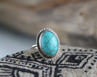 handmade dyed magnesite ring, stamped silver ring, handmade silver ring, boho ring magnesite, silver gypsy ring • size 7 ring