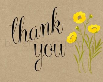 Rustic Yellow Wildflower Wedding Thank You Card