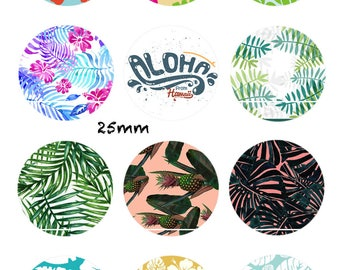 CT279 Aloha from Hawaii 12 Images/designs/collage/Scrapbooking digital 30/25/20/18/16/15/14/12/10/8 mm cabochon round/square/oval