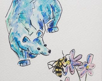 Bear and the Bee watercolour painting