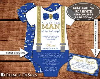 Little man baby shower invitation onesie invitation bow tie little man baby shower invitation onesie invitation bow tie suspenders royal blue filmwisefo